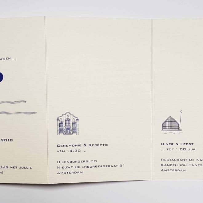 Huwelijksuitnodiging Gebouwen Binnenkant
