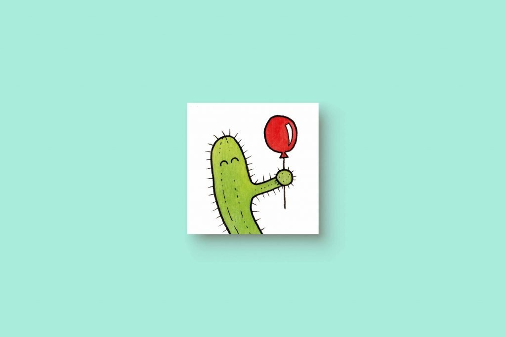 Cactus Red Balloon 5x5