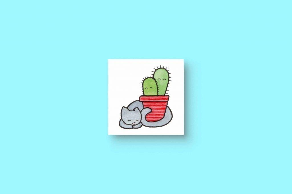 Cat Cactus 5x5