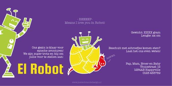 Geboortekaartje Robot Achterkant