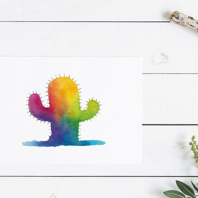 Regenboog Cactus Kaart