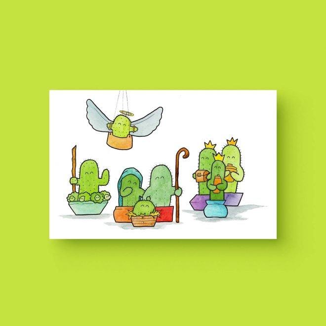 Tiny cacti christmas kaart