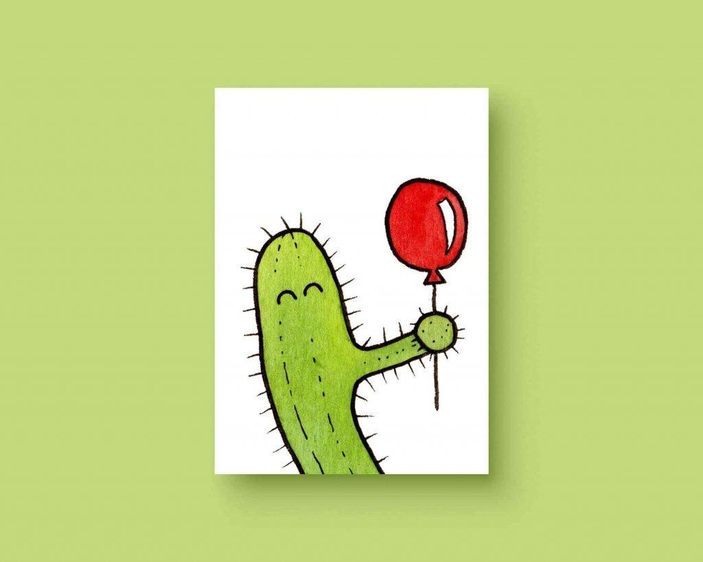 Cactus ballon ansichtkaart