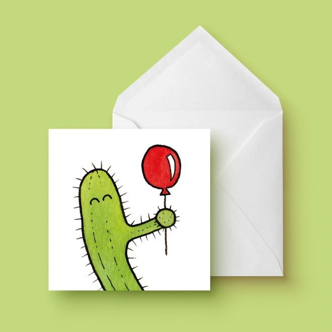 Cactus ballon dubbele kaart