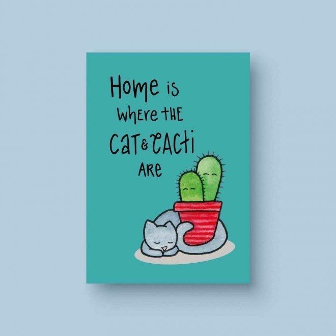 Cat cactus ansichtkaart