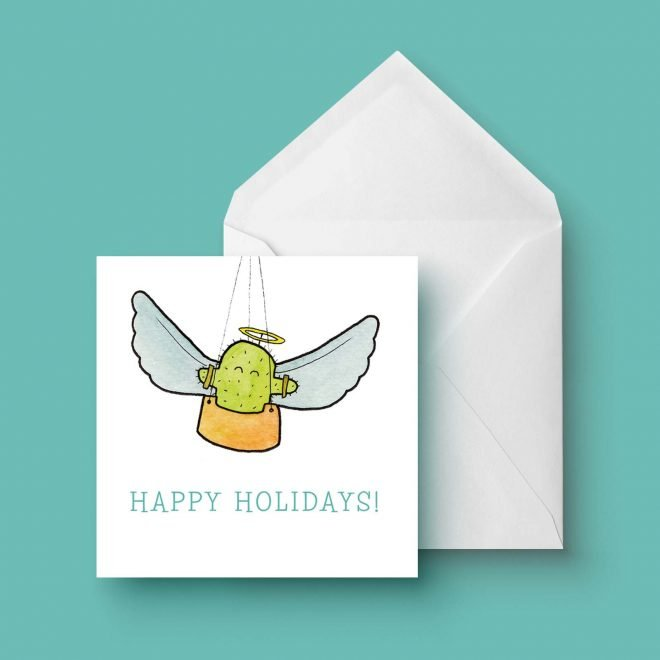 Cactus happy holidays dubbele kaart