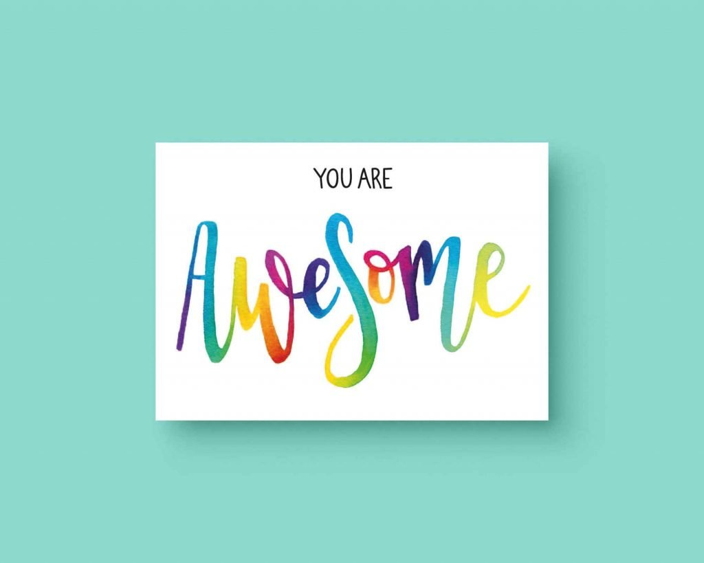 You are Awesome ansichtkaart lijn